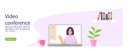 Video conference landing. Female character on the laptop screen. Online communication concept. Vector illustration in cartoon style.