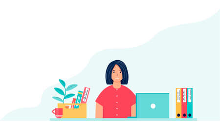 Dismissal concept. Sad young woman is sitting at the workplace. Female character who lost his job. Downsized employee. The woman is shocked by the dismissal. Vector illustration in cartoon style.