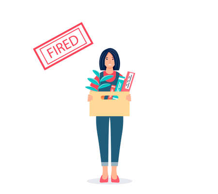 Dismissal concept. Fired sad young woman with a box of things. Unemployment, crisis, job cuts. Female character who lost his job. Vector illustration on isolated background.