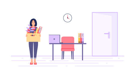 Dismissal concept. A dismissed employee with a box of things near the former workplace. Unemployment, crisis, job cuts. A female character who has lost her job. Vector illustration white background Ilustração