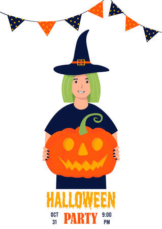 Happy young woman in a witch costume celebrates Halloween. Halloween party concept. Female character with a pumpkin in her hands. Banner, flyer, postcard, page. Cute vector illustration. Vector Illustration