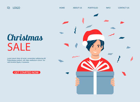 A man with a gift in his hands. Male character wearing a Santa hat with a gift. Christmas sale vector website or web page template. Landing. Christmas sales, special offers, discounts.