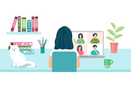Woman at the computer chatting with friends. Remote work or training. A female character using a computer for a group virtual meeting. Video conferencing and online communication vector concept. Vectores