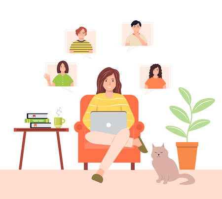 Online teamwork concept with female and male characters. A woman with a laptop communicates with a group of people. Remote video conference concept. Virtual communication during quarantine.