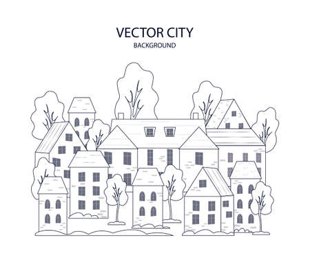 City panorama in thin line style. Vectores