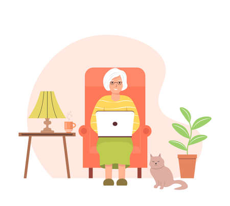 Elderly woman sitting in a chair with a laptop. An elderly female character is working on a laptop. The concept of online communication and the use of wireless technologies. Cute vector illustration.
