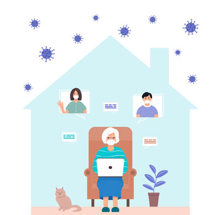 Stay at home concept. An old woman communicates with her family online. A female character chatting with older children or grandchildren during self-isolation. Grandmother with laptop. Viral epidemic. Vectores