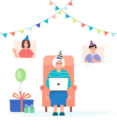 Online meeting with family. Grandchildren wish their grandmother happy birthday online. An elderly woman with a laptop in a chair accepts birthday greetings. Online communication concept.