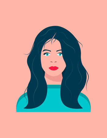 Portrait of a young dark-haired woman with blue eyes. Young woman with long hair. Female face. Vector illustration. Vectores