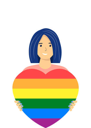 Love parade. Cheerful woman holding a rainbow heart in her hands. LGBT community. Human rights. Homosexual woman, lesbian. Heart with rainbow colors. Colors of the LGBT community. Vector illustration