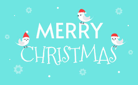 Cute birdies on a blue background with the inscription. Merry Christmas. Cheerful birds in Santa hats. Illustration for design, banner, background, postcard, invitation. Vector illustration. Vectores