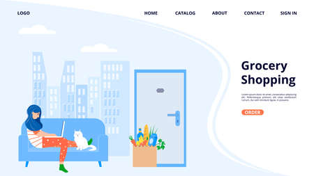 Online grocery ordering concept. Grocery shopping. Female character with laptop orders food from home. A paper bag with groceries at the door of the apartment. Web page design template. Vectores