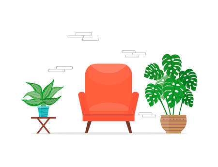 Cozy room interior with a comfortable armchair and indoor plants. Living room decor design. Flat illustration of trendy home interior. Vector illustration in cartoon style on a white background. Vectores