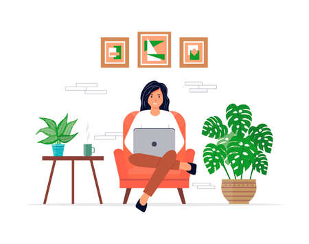 The female character is sitting in a chair and working on a laptop. Freelance or studying concept. Home Office. A young woman is studying or working at home. Cute vector illustration. Vectores