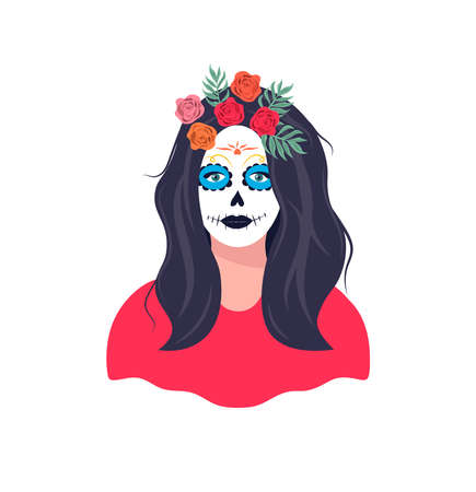 Mexican girl with Katrina makeup. Female character with a wreath of roses. Dia de los muertos holiday carnival. Skeleton woman portrait at Dia de los Muertos, Day of the dead. Halloween makeup. Vectores