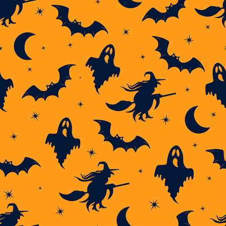Seamless vector pattern for Halloween. Cute cartoon pattern with Halloween elements. For fabric design and gift wrapping. Dark silhouettes of a witch, a ghost and a bat on an orange background.