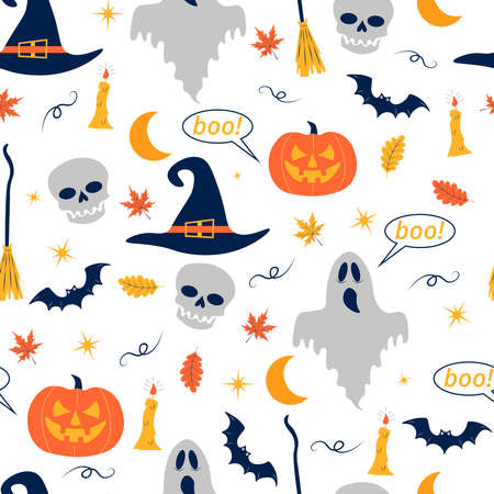 Seamless pattern for Halloween. Ghost, pumpkin, bat, skull and other Halloween-themed items. Cute cartoon pattern on white isolated background. Vector illustration for fabric design and gift wrapping