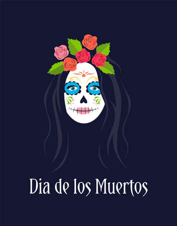 Day of the Dead, Dia de los muertos, Mexican holiday, festival. Sugar skull woman portrait. Female character with sugar skull makeup. Vector illustration on a dark background.