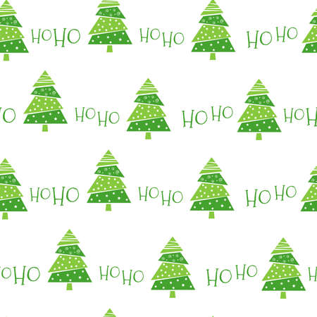 Hohoho seamless pattern for Christmas design. Green Christmas trees on a white background. Laughter of Santa Claus. Seamless design for fabric or wrapping paper. Vector illustration. Vectores
