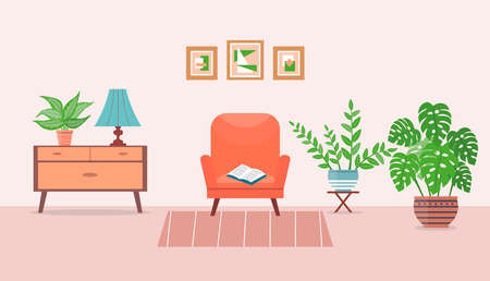Living room interior design with armchair and houseplants. Furniture: armchair, curbstone, lamp, paintings. Home interior. Cute vector illustration in flat style. Vectores