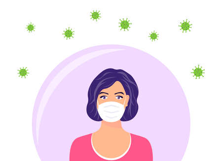Woman in protective face mask. The female character wearing protection from virus, smog, urban air pollution. Coronavirus quarantine concept. Vector illustration in a flat style. Vectores