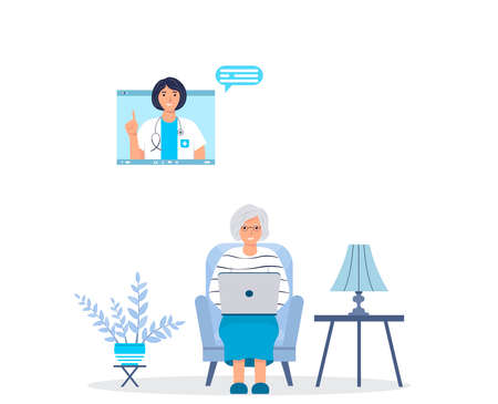 Elderly female character talking to a doctor while sitting at home. Physician appointment. Online consultation. Modern healthcare technologies. Online medical support. Internet doctor. Vector.