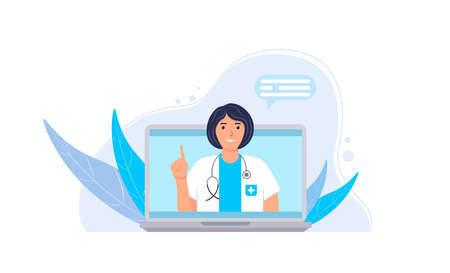 Female character with a stethoscope at the laptop screen.