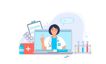 Doctor online. Medical services. Ask your doctor. Online medical consultation and support concept. Female character with stethoscope and medical supplies on laptop screen. Vector illustration.