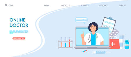 Online medical consultation concept. Female character on the laptop screen. Doctor online. Website landing page template. Medical diagnostics over the Internet. Flat design. Vector illustration.