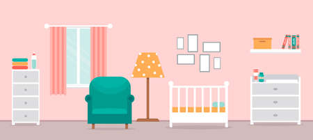 Cozy interior of the nursery. Children's room with furniture for the girl. Room design for newborn. Changing table, crib and other items for a newborn. Vector illustration in a flat style. Vectores