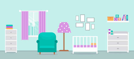 Cozy interior of the nursery. Design of a room for a newborn. Children's room with furniture for the boy. Changing table, crib and other items for a newborn. Vector illustration in flat cartoon style. Vectores