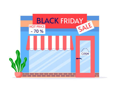 Black Friday Sale. Discount store. Vector illustration of a storefront in a cartoon style on a white isolated background.
