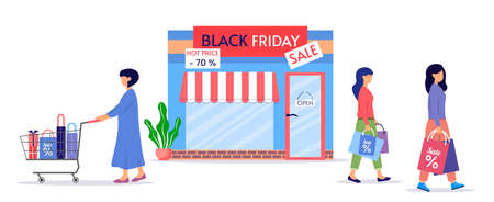 Black Friday Sale. Discount store. Female characters carry shopping bags. Women's taking part in seasonal sale at store, shop, mall. Vector illustration in cartoon style on a white background.