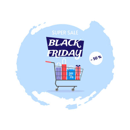 Shopping cart with purchases on an abstract blue background. Black Friday. Discount store. Big sale. Vector illustration for banner, background, flyer. Vectores