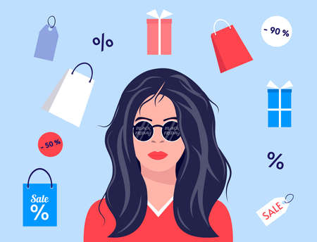 Girl in glasses Black Friday. Young woman portrait. Female character is thinking about shopping. Black Friday Sale. Seasonal sale. Vector illustration in cartoon style. Vectores