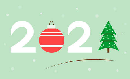 New year banner 2021. Consists of numbers, Christmas tree and Christmas ball. Design for greeting card, invitation, etc. Festive background. Vector illustration.