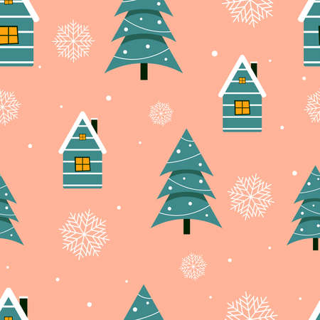 Christmas seamless pattern with Christmas trees, houses and snowflakes. New Year's design for wrapping paper, websites, banners. Vector illustration.