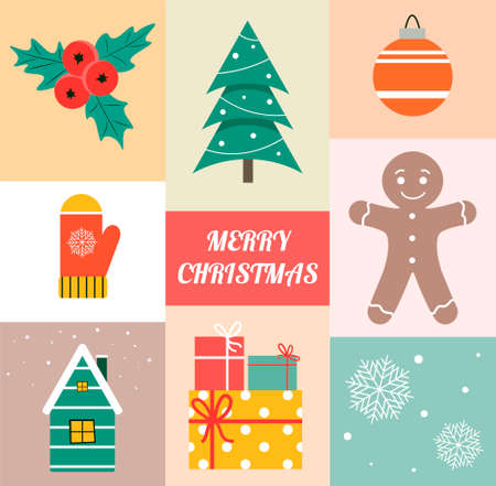 Merry Christmas. Set of elements in cartoon style. For the design of wrapping paper, paper napkin, greeting card. Gingerbread man, Christmas tree and other elements on a colorful background.