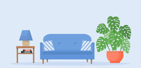 Living room interior with furniture. Modern blue sofa with bedside table and plant. Interior illustration in flat style.