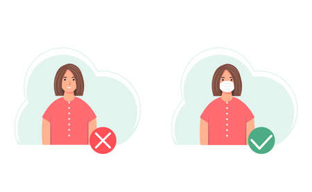 No entry without wearing a mask. A face mask is required. Protection and prevention of coronavirus infection COVID-19. Woman with and without a protective mask. Vector illustration in flat style.