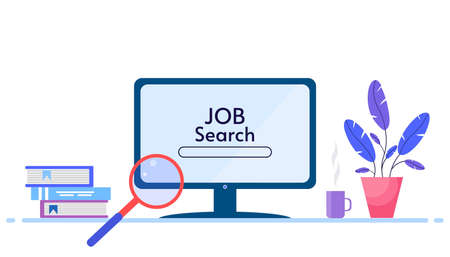 Job Searching concept. Search for jobs online using a computer application. Computer and magnifying glass on a white background. Vector illustration in a flat style. Vectores