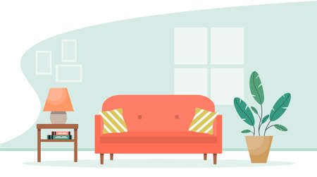 Living room interior with furniture. Modern sofa with bedside table and plant. Cute Interior illustration in flat style.