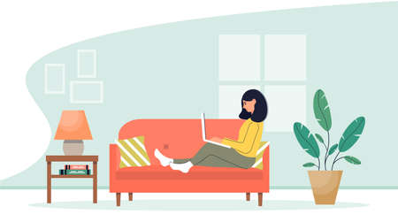 Girl with laptop sitting on the sofa. Home Office. Work at home or freelance. Homeschooling. Online work concept. Freelancer lifestyle. Cute vector illustration in flat style.