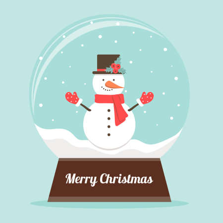 Christmas snowglobe with cute snowman. Christmas decoration. Vector illustration in a flat style.
