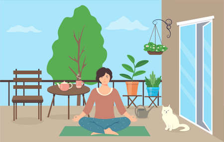 Woman practices yoga on the balcony. Relaxed woman with closed eyes doing yoga exercises. The female character is sitting in the lotus position. Outdoor meditation. Vector illustration in a flat style
