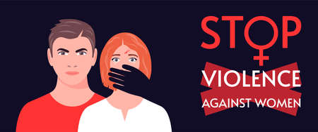 Abuse or domestic violence concept. A woman in tears and with traces of beating on her face. The man covers the woman's mouth with his hand. Stop violence against women. Vector illustration.