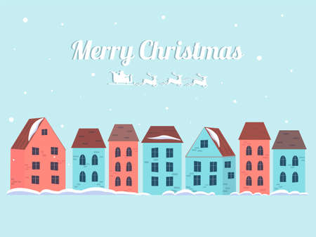 Merry christmas winter houses with snow. Winter town in a cartoon style. Flat vector illustration with congratulatory text. 矢量图像