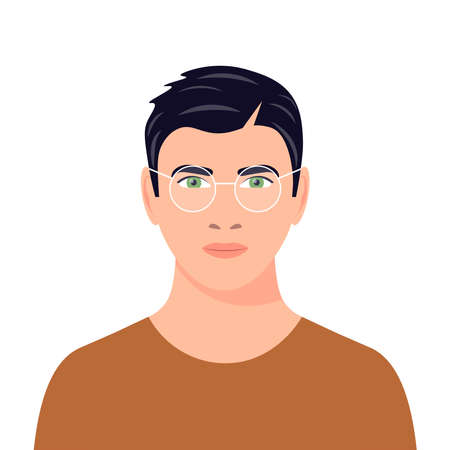 Portrait of a dark-haired guy with glasses. Avatar of a young man. Handsome young man. Green-eyed male character. Flat vector illustration. Vecteurs