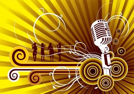 歌: 音楽のベクトルの背景  イラスト・ベクター素材
