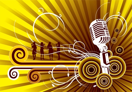 singer with microphone: Vector music background